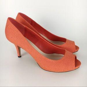Cato Coral Faux Snakeskin Open Peep Toe Heels 11